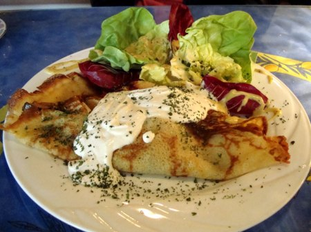 SILVIE'S VEGGIE CREPE WITH WARM GOAT MILK CHEESE