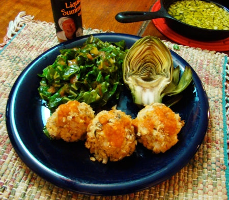 Salmon Haystacks With Artichoke, and Collards