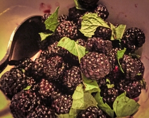 The best dessert ever. Black raspberries with mint, rum, Croatian grappa, and a drizzle of maple syrup.